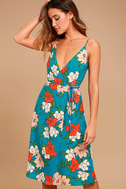 Country Club Teal Blue Floral Print Wrap Dress 1