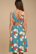 Country Club Teal Blue Floral Print Wrap Dress 3