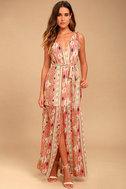 Mystical Moment Coral Pink Print Maxi Dress 1