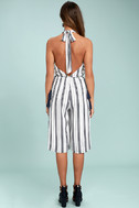 Sea What I Mean Navy Blue and White Striped Midi Jumpsuit 3