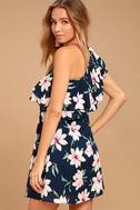 Undiscovered Island Navy Blue Floral Print One-Shoulder Dress 2