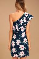 Undiscovered Island Navy Blue Floral Print One-Shoulder Dress 3
