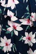 Undiscovered Island Navy Blue Floral Print One-Shoulder Dress 4