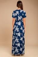 Heart of Marigold Navy Blue Floral Print Wrap Maxi Dress 3