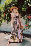 Incense and Peppermints Black Floral Print Maxi Dress 7