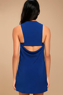 Streamlined Style Royal Blue Cutout Dress 3