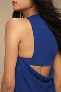 Streamlined Style Royal Blue Cutout Dress 4