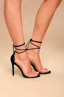 Ledah Black Suede Lace-Up Heels 3