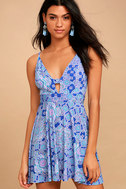 Lucy Love Slay Royal Blue Print Skater Dress 1