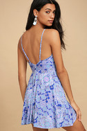 Lucy Love Slay Royal Blue Print Skater Dress 2