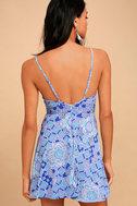 Lucy Love Slay Royal Blue Print Skater Dress 3
