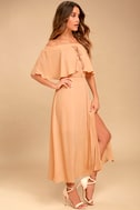 Somedays Lovin' Touch the Sun Nude Off-the-Shoulder Midi Dress 2