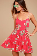 Posy Promenade Red Floral Print Lace-Up Dress 1