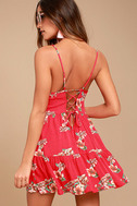 Posy Promenade Red Floral Print Lace-Up Dress 2