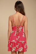 Posy Promenade Red Floral Print Lace-Up Dress 3