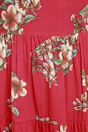 Posy Promenade Red Floral Print Lace-Up Dress 4