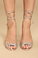 Melisenda Silver Lucite Lace-Up Heels 2