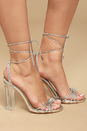 Melisenda Silver Lucite Lace-Up Heels 3