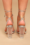 Melisenda Silver Lucite Lace-Up Heels 4
