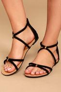Brietta Black Suede Flat Sandals 2
