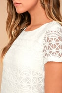 Love You For Eternity White Lace Shift Dress 4