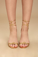 Melisenda Gold Lucite Lace-Up Heels 2