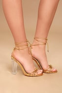 Melisenda Gold Lucite Lace-Up Heels 3