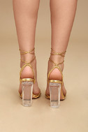 Melisenda Gold Lucite Lace-Up Heels 4