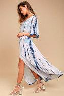 Seaside Dream Navy Blue and Lavender Tie-Dye Maxi Dress 2