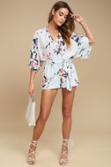 Paraiso Light Blue Print Romper 2