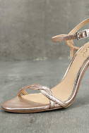 Jewel by Badgley Mischka Hepburn II Rose Gold Leather Heels 6