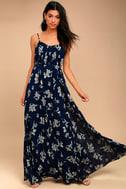 Memorable Night Navy Blue Floral Print Maxi Dress 1