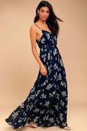 Memorable Night Navy Blue Floral Print Maxi Dress 2