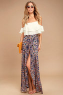 Dancing with Daisies Mauve Print Maxi Skirt 1