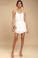 Amuse Society Tatum White Crochet Mini Dress 2