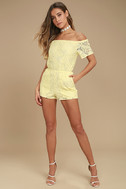BB Dakota Haidyn Pale Yellow Lace Off-the-Shoulder Romper 2