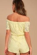 BB Dakota Haidyn Pale Yellow Lace Off-the-Shoulder Romper 3