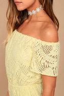 BB Dakota Haidyn Pale Yellow Lace Off-the-Shoulder Romper 4