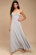 Elevate Light Grey Embroidered Maxi Dress 1