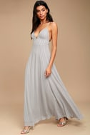 Elevate Light Grey Embroidered Maxi Dress 2