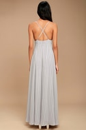 Elevate Light Grey Embroidered Maxi Dress 3