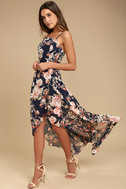Reflection Navy Blue Floral Print High-low Dress 2