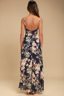 Reflection Navy Blue Floral Print High-low Dress 3