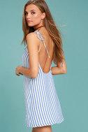 Seaside Swing Blue and White Striped Shift Dress 1