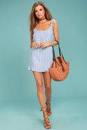 Seaside Swing Blue and White Striped Shift Dress 2