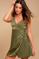 Enigmatic Olive Green Satin Wrap Dress 1
