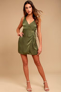 Enigmatic Olive Green Satin Wrap Dress 2
