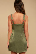 Enigmatic Olive Green Satin Wrap Dress 3