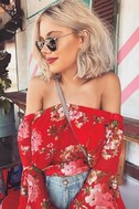 Naturally Charming Red Floral Print Off-the-Shoulder Crop Top 8