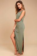 Z Supply Marianna Olive Green Sleeveless Maxi Dress 2
